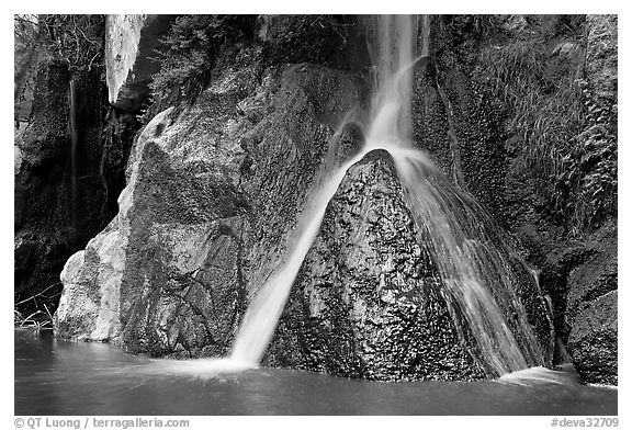 Darwin Falls drops into desert pool. Death Valley National Park (black and white)