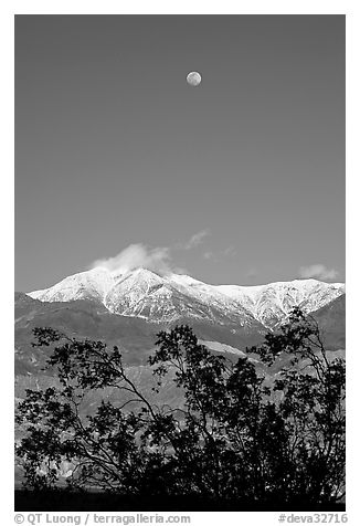 Moon and Panamint Range seen from the West. Death Valley National Park (black and white)