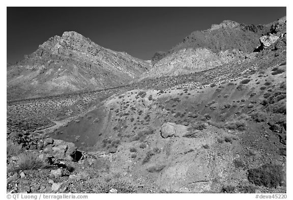 Slopes above Titus Canyon. Death Valley National Park (black and white)