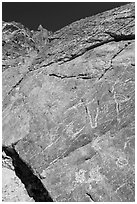 Native American petroglyphs, Titus Canyon. Death Valley National Park, California, USA. (black and white)