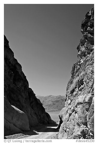 Mouth of Titus Canyon and valley. Death Valley National Park (black and white)