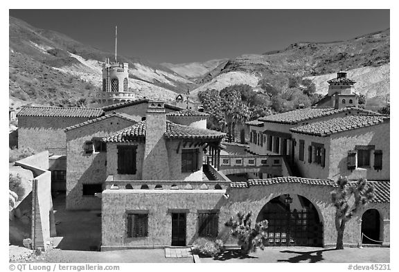 Scotty's Castle from above. Death Valley National Park (black and white)