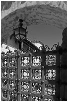 Gate, lamp, and arch, Scotty's Castle. Death Valley National Park ( black and white)