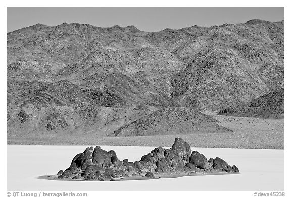 Grandstand and mountains. Death Valley National Park (black and white)