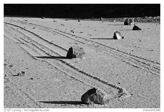 Gliding rocks and trails the Racetrack playa. Death Valley National Park (black and white)