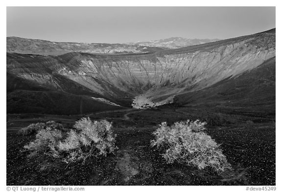 Ubehebe Crater at twilight. Death Valley National Park (black and white)