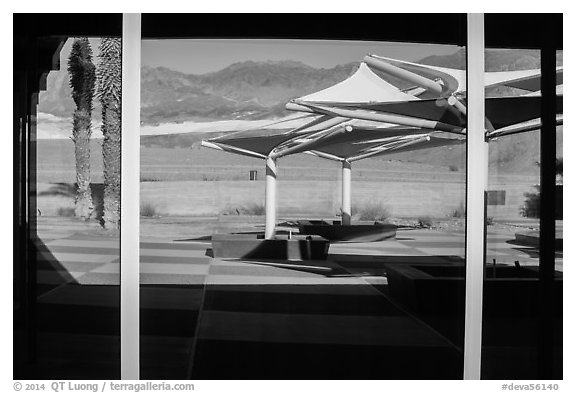 Amargosa Range, Furnace Creek Visitor Center window reflexion. Death Valley National Park (black and white)