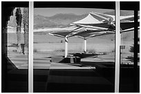 Amargosa Range, Furnace Creek Visitor Center window reflexion. Death Valley National Park ( black and white)