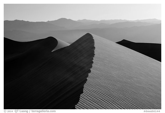 Dune ridges and Panamint Range. Death Valley National Park (black and white)