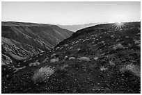Sunrise, Father Crowley Viewpoint at sunrise. Death Valley National Park ( black and white)