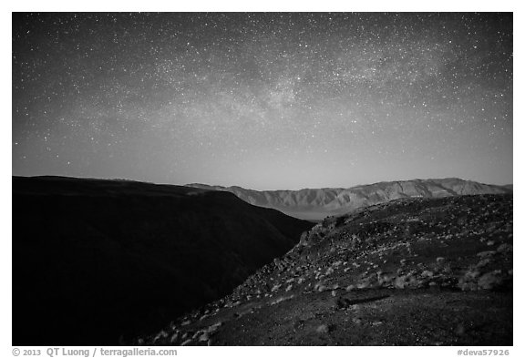 Father Crowley Point at night. Death Valley National Park (black and white)