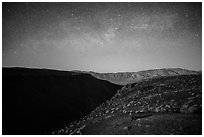 Father Crowley Point at night. Death Valley National Park ( black and white)