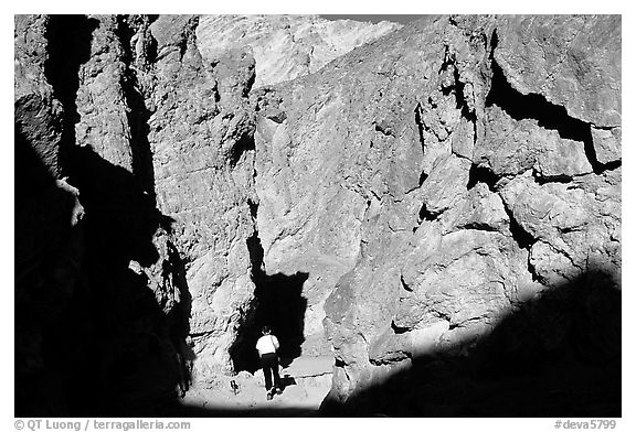 Hiker in Golden Canyon. Death Valley National Park (black and white)