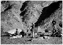 Group at backcountry camp. Death Valley National Park ( black and white)