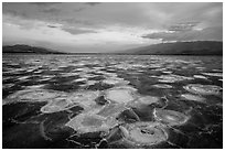 Mud and salt patterns at dusk, Cottonball Basin. Death Valley National Park ( black and white)