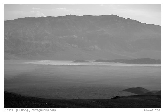 Panamint Valley and Playa from above. Death Valley National Park (black and white)