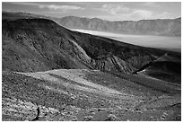 Visitor looking, Panamint Valley. Death Valley National Park ( black and white)