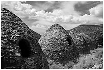 Wildrose Charcoal Kilns and clouds. Death Valley National Park ( black and white)