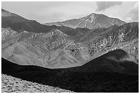 Telescope Peak rising above Emigrant Mountains. Death Valley National Park ( black and white)