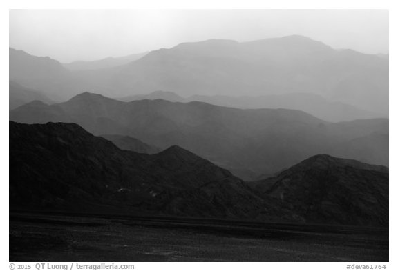 Mountains in the haze of sandstorm. Death Valley National Park (black and white)