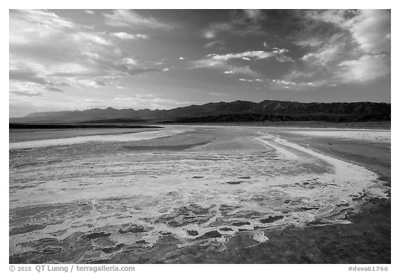 Dried rivers of salt, Cottonball Basin. Death Valley National Park (black and white)
