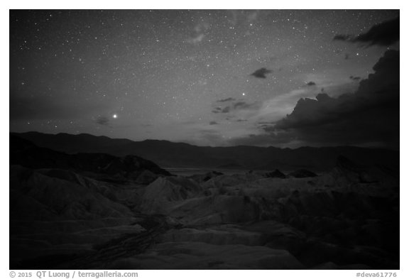 Zabriskie Point at night. Death Valley National Park (black and white)