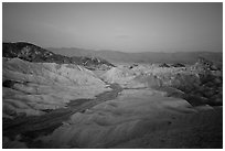 Blue hour, Zabriskie Point. Death Valley National Park ( black and white)