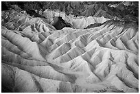 Eroded badlands at dawn, Zabriskie Point. Death Valley National Park ( black and white)