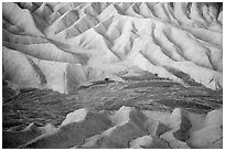 Badlands and wash at dawn, Zabriskie Point. Death Valley National Park ( black and white)