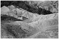 Multicolored badlands, Twenty Mule Team Canyon. Death Valley National Park ( black and white)