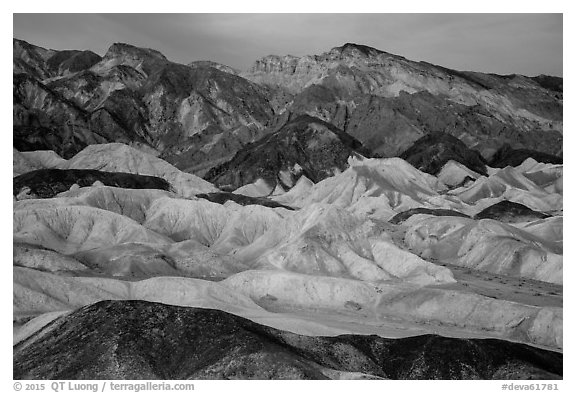 Badlands at dawn, Twenty Mule Team Canyon. Death Valley National Park (black and white)