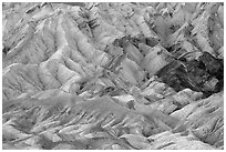Pastel-colored badlands, Twenty Mule Team Canyon. Death Valley National Park ( black and white)