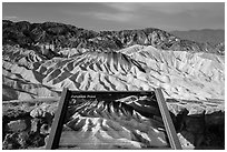 Zabriskie Point Interpretive sign. Death Valley National Park ( black and white)