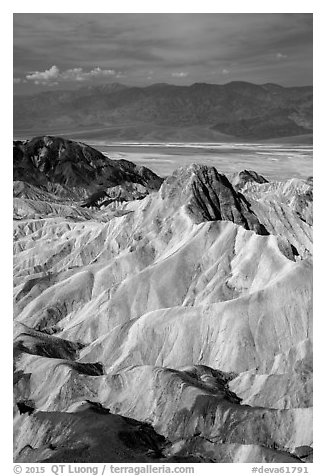 Manly Beacon and main valley. Death Valley National Park (black and white)