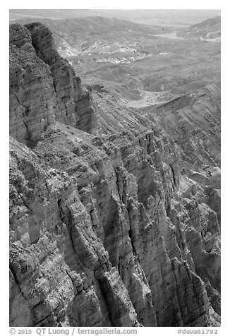 Red Cathedral near Zabriskie Point. Death Valley National Park (black and white)