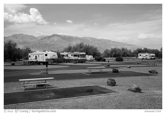 Furnace Creek Campground. Death Valley National Park (black and white)