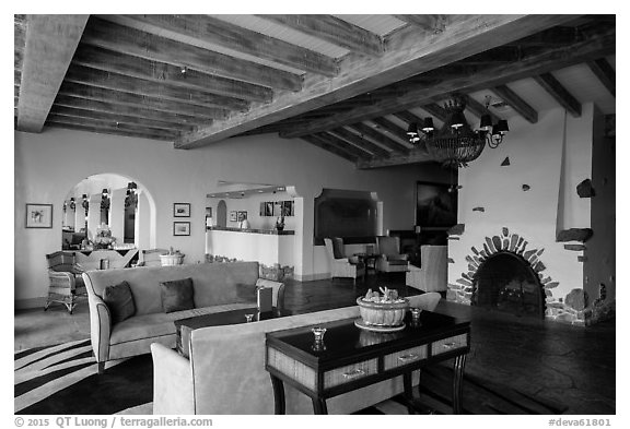 Furnace Creek Inn lobby. Death Valley National Park (black and white)