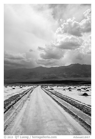 Road crossing Salt Pan. Death Valley National Park (black and white)
