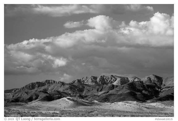 Distant Ibex Dunes and Saddle Peak Hills. Death Valley National Park (black and white)