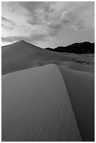 Ibex dunes field at dusk. Death Valley National Park ( black and white)
