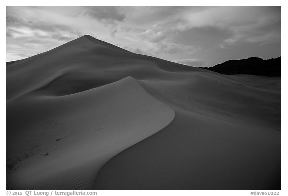 Ibex Sand Dunes, blue hour. Death Valley National Park (black and white)