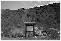 Blank information sign, Saragota Springs. Death Valley National Park ( black and white)
