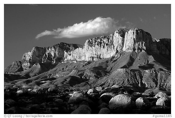 Boulders, El Capitan, and Guadalupe Range, sunset. Guadalupe Mountains National Park (black and white)