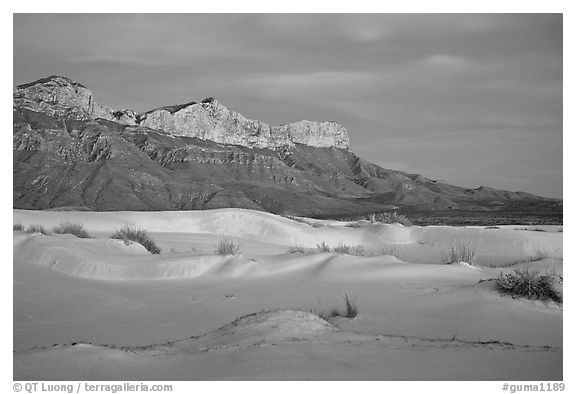 White gyspum sand dunes and cliffs of Guadalupe range at dusk. Guadalupe Mountains National Park (black and white)