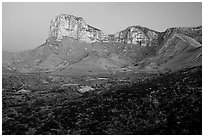 El Capitan from Guadalupe Pass, sunrise. Guadalupe Mountains National Park ( black and white)