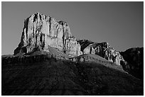 El Capitan from Guadalupe Pass, sunrise. Guadalupe Mountains National Park, Texas, USA. (black and white)