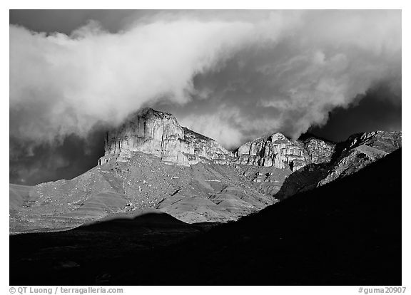 El Capitan and low clouds at sunrise. Guadalupe Mountains National Park (black and white)