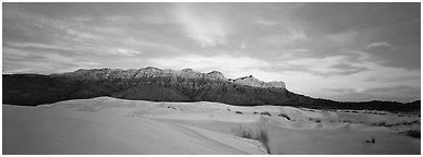 Desert and mountain scenery with gypsum dunes at sunset. Guadalupe Mountains National Park (Panoramic black and white)
