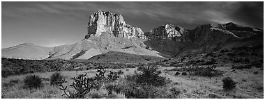 El Capitan rising above desert flats. Guadalupe Mountains National Park (Panoramic black and white)