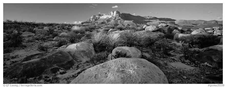 Boulders and Guadalupe range. Guadalupe Mountains National Park (black and white)